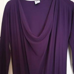 Halston Heritage Purple Cowl Neck Cocktail Gown